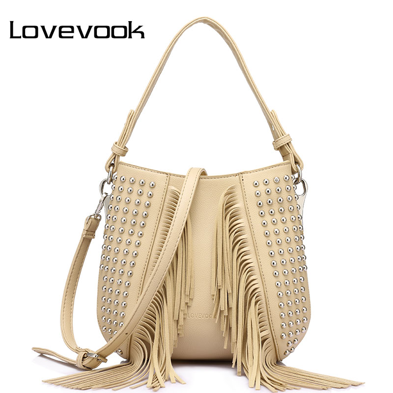 LOVEVOOK brand fashion tassel shoulder bag vintage handbags high quality rivet messenger bags for women 2017 high quality vvmi 2016 new women handbag brand design rivet suede tassel bag chic classic vintage saddle bag single shoulder bag for female