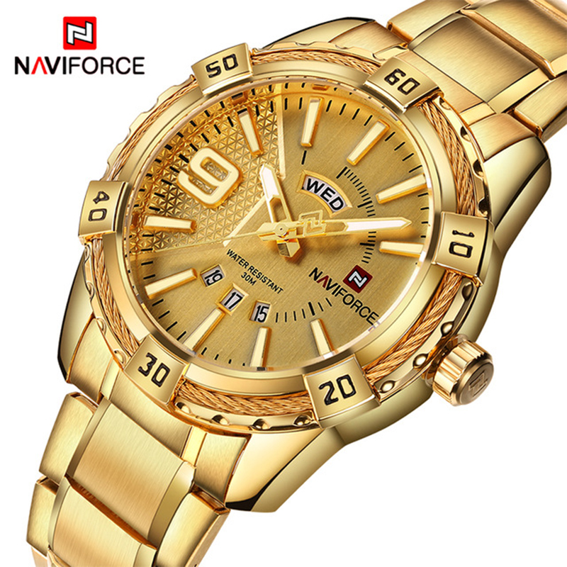 NAVIFORCE Luxury Brand Mens Sport Watch Gold Full Steel Quartz Watches Men Date Waterproof Military Clock Man relogio masculinoNAVIFORCE Luxury Brand Mens Sport Watch Gold Full Steel Quartz Watches Men Date Waterproof Military Clock Man relogio masculino