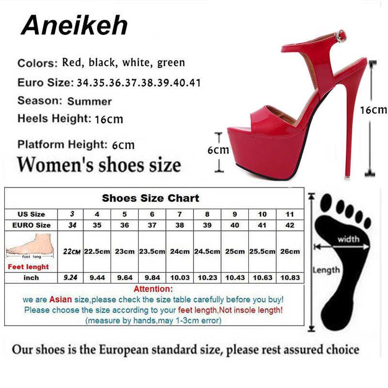 Aneikeh Büyük Ayakkabı Boyutu 41 42 43 44 45 46 Yüksek Topuklu Sandalet Yaz Seksi Burnu açık Parti Elbise 16 CM Platformu Gladyatör Kadın Ayakkabı
