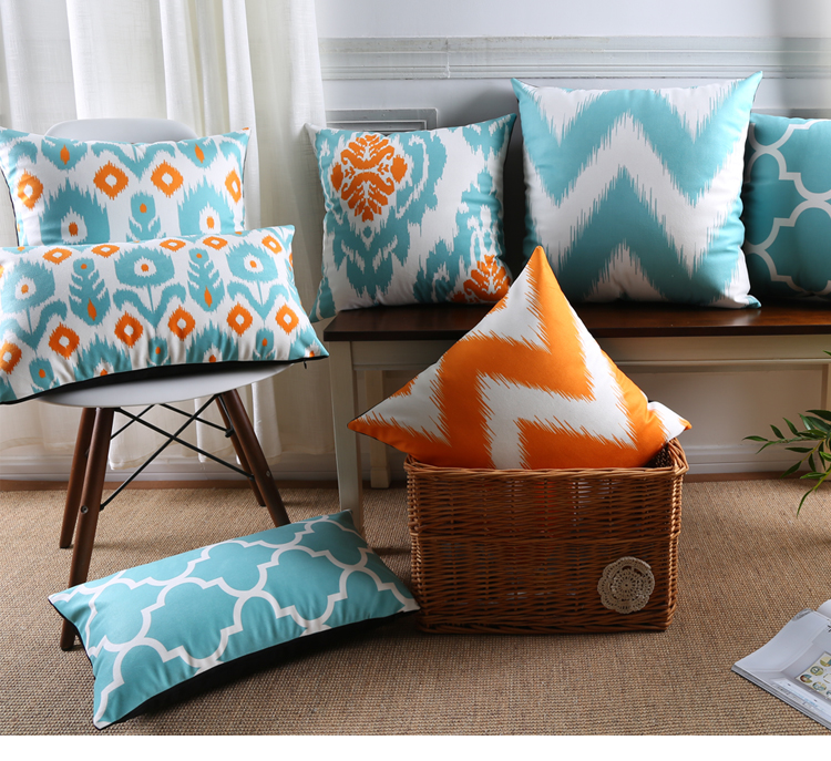 Moroccan Tile Pattern Art Cushion Covers Nordic Light Blue