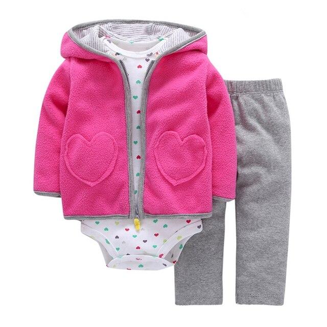 5db541f8e46 3 unids set Otoño Invierno bebé niña ropa bebé niño recién nacido Ropa  conjunto algodón