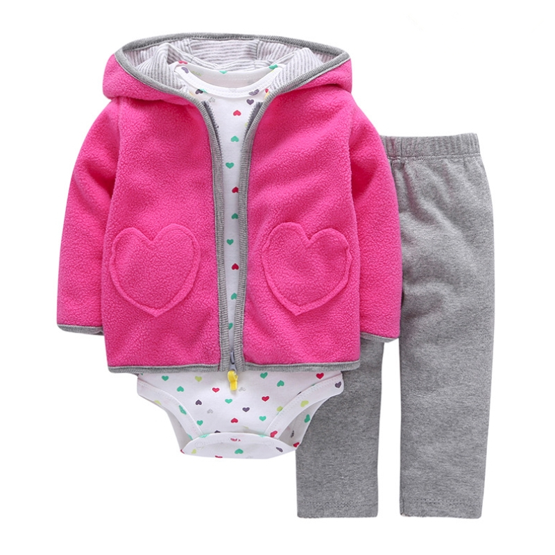 3pcs set Autumn Winter Baby Girl Clothes Newborn Baby Boy Clothes Set Cotton Fleece Roupa Infantil