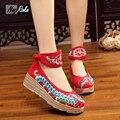 Лето лодыжки ремень насосы вышивка обувь женщины Китайский стиль танкетка Хлопок белье случайные платформа женская обувь zapatos mujer
