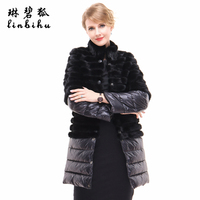 Unique Women Genuine Mink Fur Coats With Detachable Sleeves And Hem Ladies Winter Warm Down Jacket Real Mink Fur Jacket Parkas