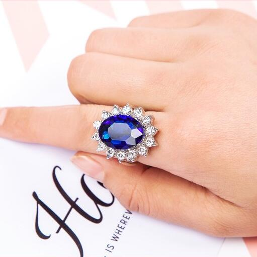 Fashion Rings for Women Engagement Ring Tiffan Jewelry Bague Princess Kate Blue Crystal Ring Oval Lord of the Rings Anillo