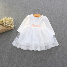 Retail-2017 spring autumn cute baby girls clothes baby infant lace dress ball gown girls birthday dress pink white blue 0-2T