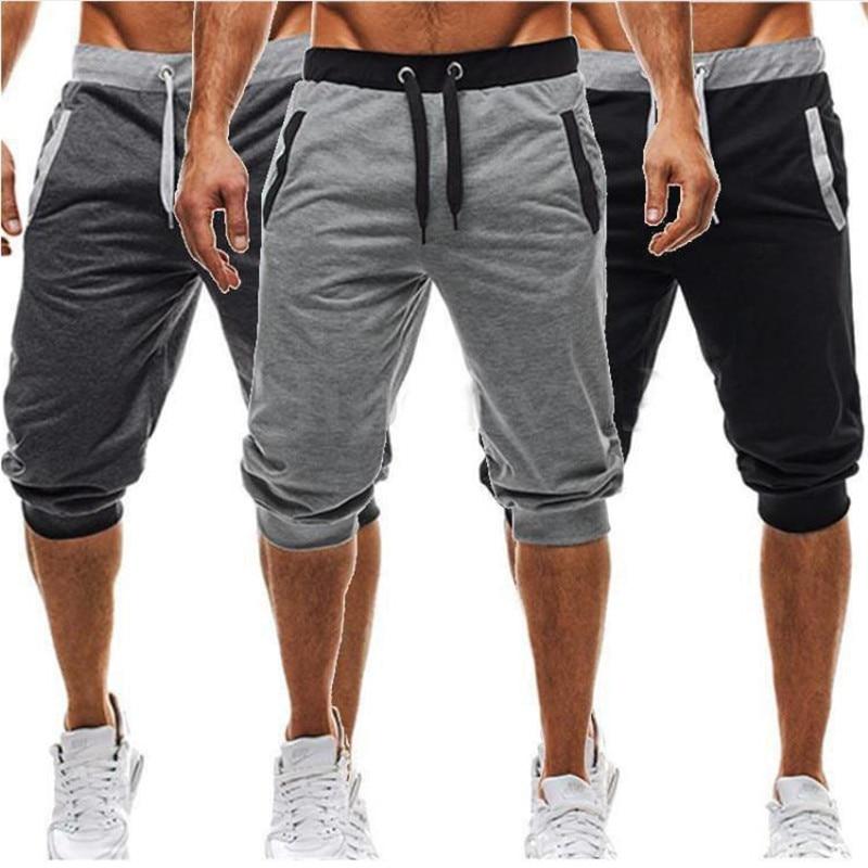 Men Leisure Knee Length Shorts Patchwork Joggers 5