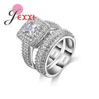 2 PCS Women Fashion Wedding Jewelry 925 Sterling Silver Rings Set For Girls Engagement Anillos Anel