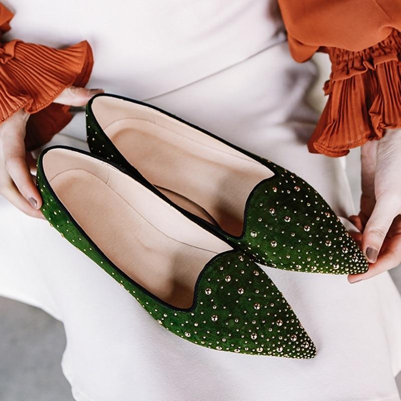 Enfant De Talon Black Pointu Dames Talons Femmes Printemps Pompes green Épais En Daim Cuir Cristal Décoration Zvq Nouvelles Robe Chaussures Dame Bout BaYqxnRR8