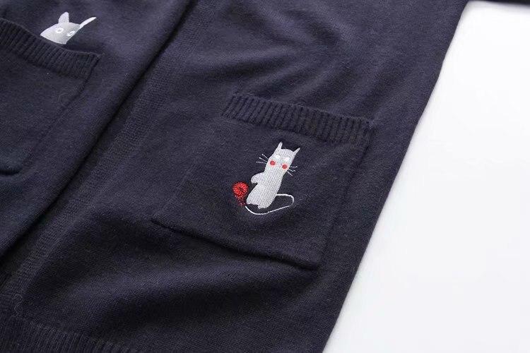 Étudiants cloth De Longues Brodé Manteau Navy Femelle Chandail Chaton Japonais Automne À Cardigan Lâche Blue Merci Manches fPcaqv