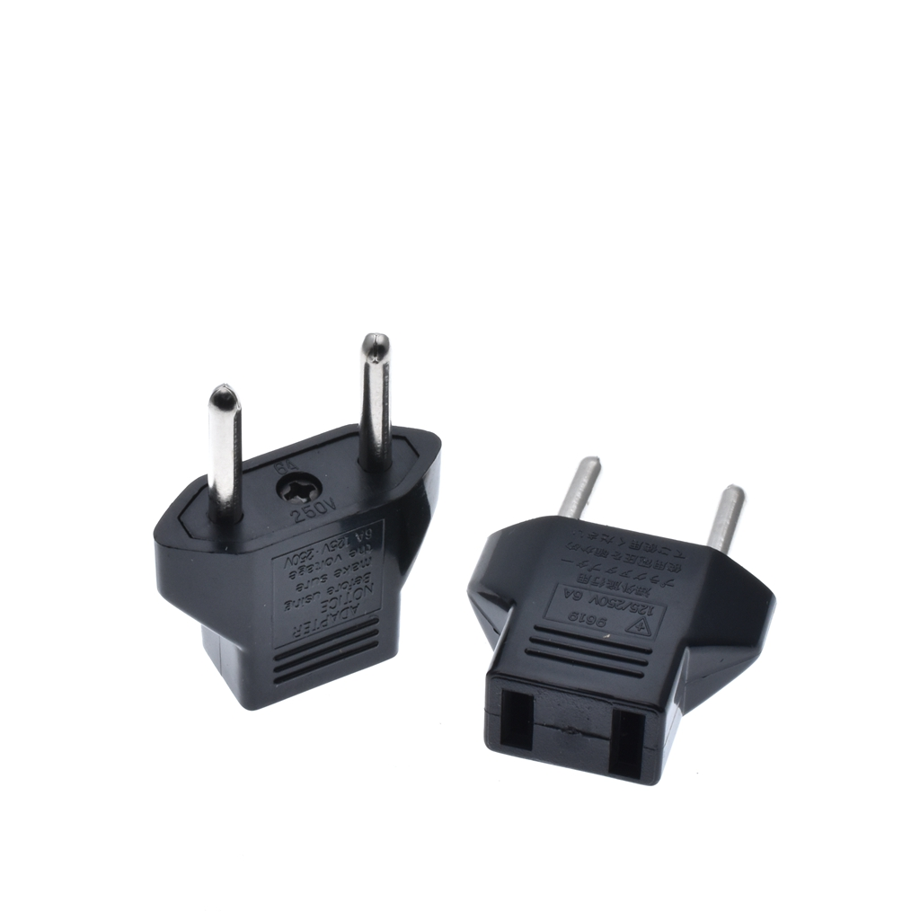 10pcs <font><b>CN</b></font> US <font><b>To</b></font> <font><b>EU</b></font> Euro Europe <font><b>Plug</b></font> Adapter 2 Round Socket Converter Travel Electrical Power Adapter Socket China <font><b>To</b></font> <font><b>EU</b></font> <font><b>Plug</b></font> image