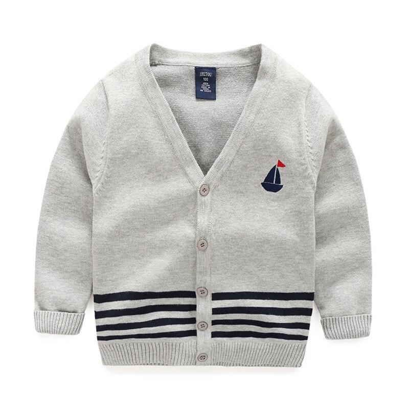 ᓂboy Sweaters Cardigans Cotton Top Stripe Boys Sweater V Neck Kids