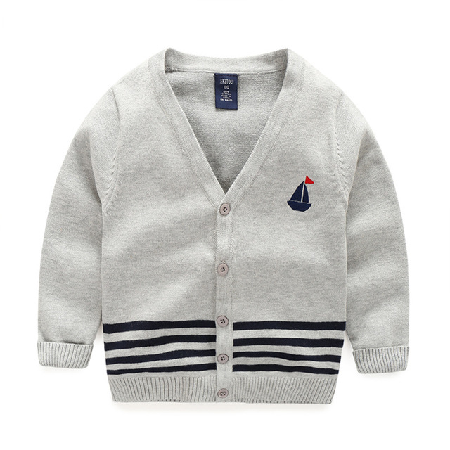 11cbde1cd Boy Sweaters Cardigans Cotton Top Stripe Boys Sweater V Neck Kids Clothes  Embroidery Sailboat Baby Cardigan Children Clothing
