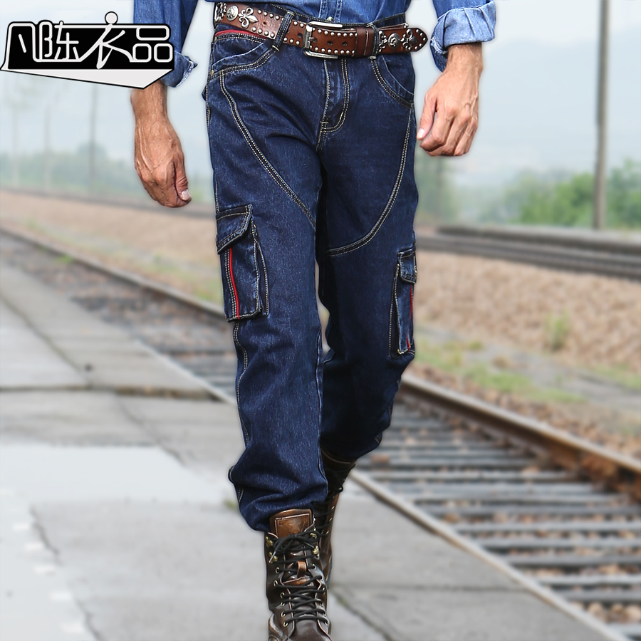 2017 spring new fashion cowboy jean washing denim trousers loose straight leisure blue cargo jeans with multi pockets for men men s cowboy jeans fashion blue jeans pant men plus sizes regular slim fit denim jean pants male high quality brand jeans