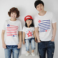 Летний стиль семьи соответствующие рубашки хлопка полосатые звезды шаблон печать рубашки свободного покроя с коротким рукавом белого семья майки