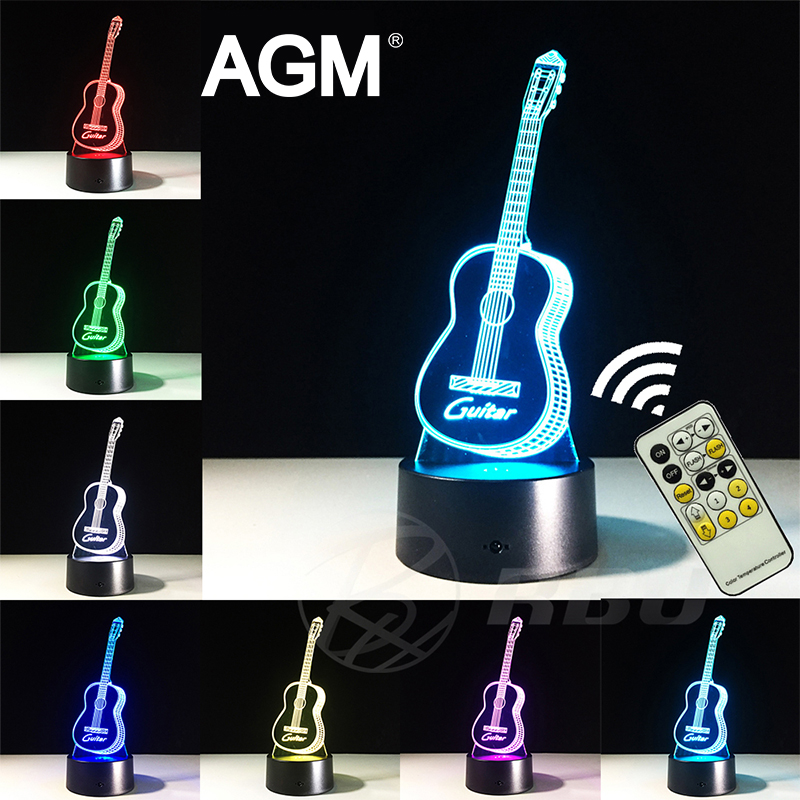 AGM Guitar 3D Night Lights Visual 3D Visual Touch Nightlights Bedroom Table lamp 7 Colors RGB LED Bedside Lamp For Kids Gifts led 3d innovative design visual rubik s cube modelling night lights 7 colorful usb touch button desk lamp creative kids toy gift