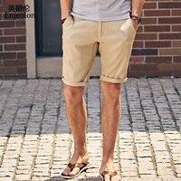 Enjeolon Brand Top 2018 Summer New Casual Shorts Men Linen Sim Solid Black Khaki Available Knee