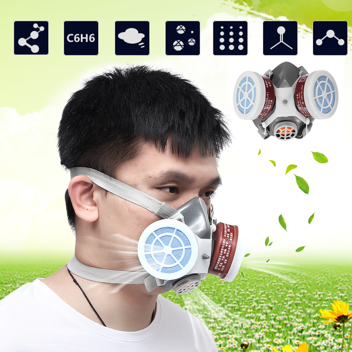 Gas Mask Spray Paint Chemical Double Protection Safety Mask Respirator Decoration Polishing Anti-paint Dustproof Mask Filter large 42x80cm simulation dove model toy plastic foam
