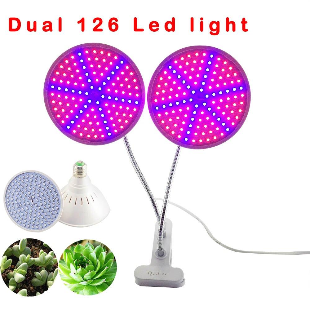 Double tête Led Fleur D'usine Élèvent La Lumière Ampoule Lampe Ensemble Bureau Clip Holder pour les plantes de semis de Légumes Intérieure à effet de serre hydroponique