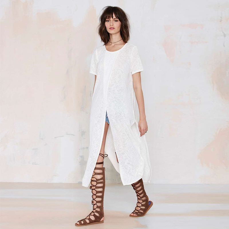 9e0d13d7f1b3 Side Split Women T shirt Basic White Solid Crew Neck Longline Tops  Streetwear Loose Female Tops For Wholesale-in T-Shirts from Women s  Clothing on ...