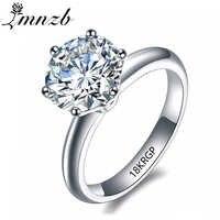 LMNZB luxe 2 carats blanc bague Solitaire or rempli de 18 KRGP timbre cubique zircone fiançailles bagues de mariage pour les femmes LR168