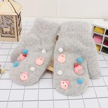 1 пара, Новое поступление, зимние перчатки с искусственным кроличьим мехом, теплые мягкие хлопковые перчатки с длинными пальцами для девочек, детские перчатки с мультяшным принтом