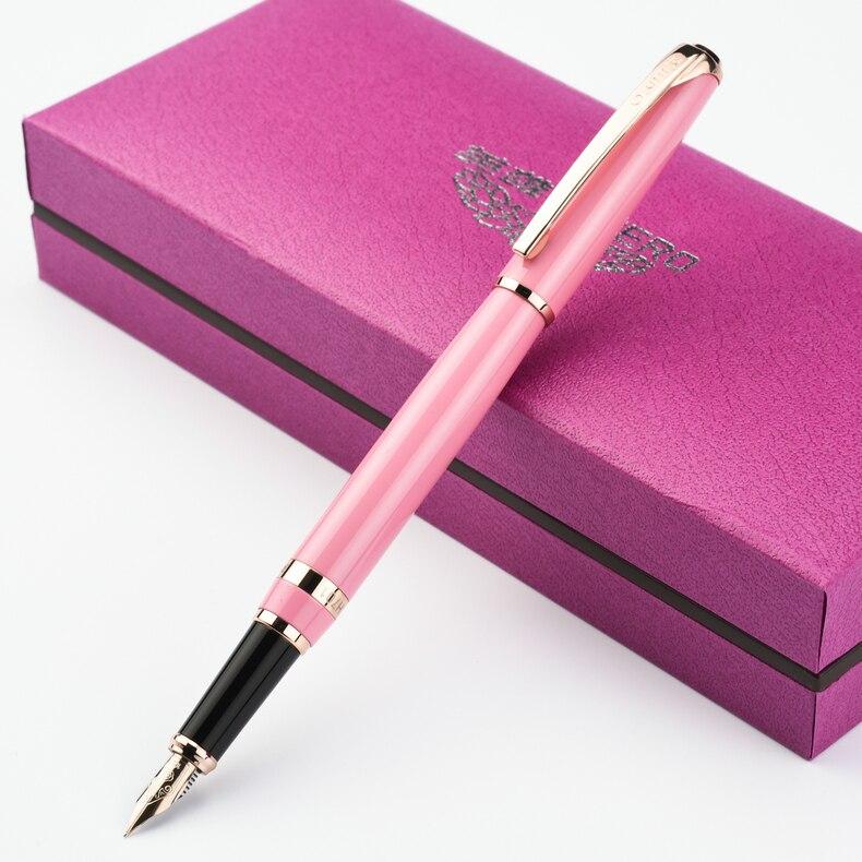 1 PC 0.5mm métal héros stylo plume pointe 10 K stylo cadeau pour bureau d'affaires écriture encre luxueux cadeau stylo plume avec cadeau stylo boîte