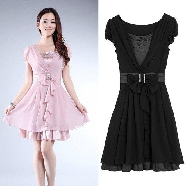 Summer plus size clothing chiffon one-piece dress silk slim bow spring and summer female skirt