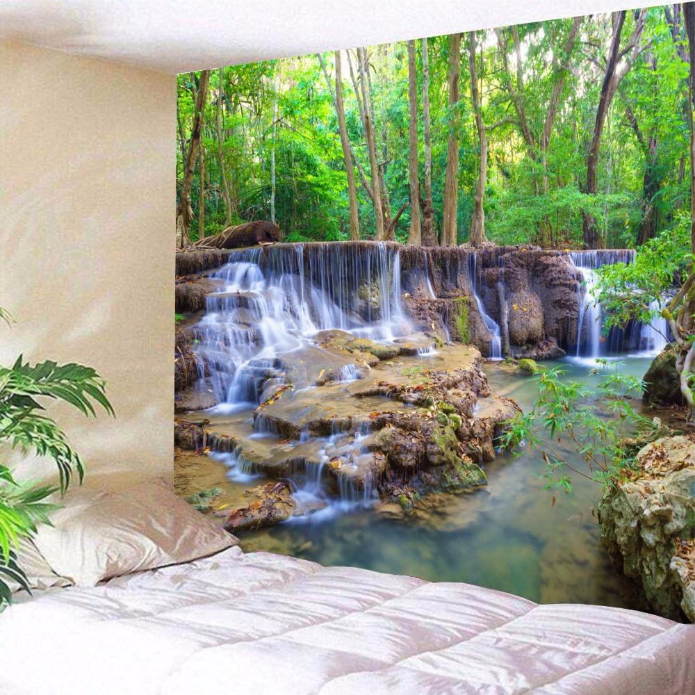 Beautiful Wall Hanging Tapestry Forest Beautiful Waterfall Hd Scenery Beach Towel Nature Tenture Mural Polyester Carpet image