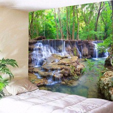 Wall Tapestry Beautiful Forest Hanging Waterfall Hd Scenery Beach Towel Nature Tenture Mural Polyester Carpet цена 2017