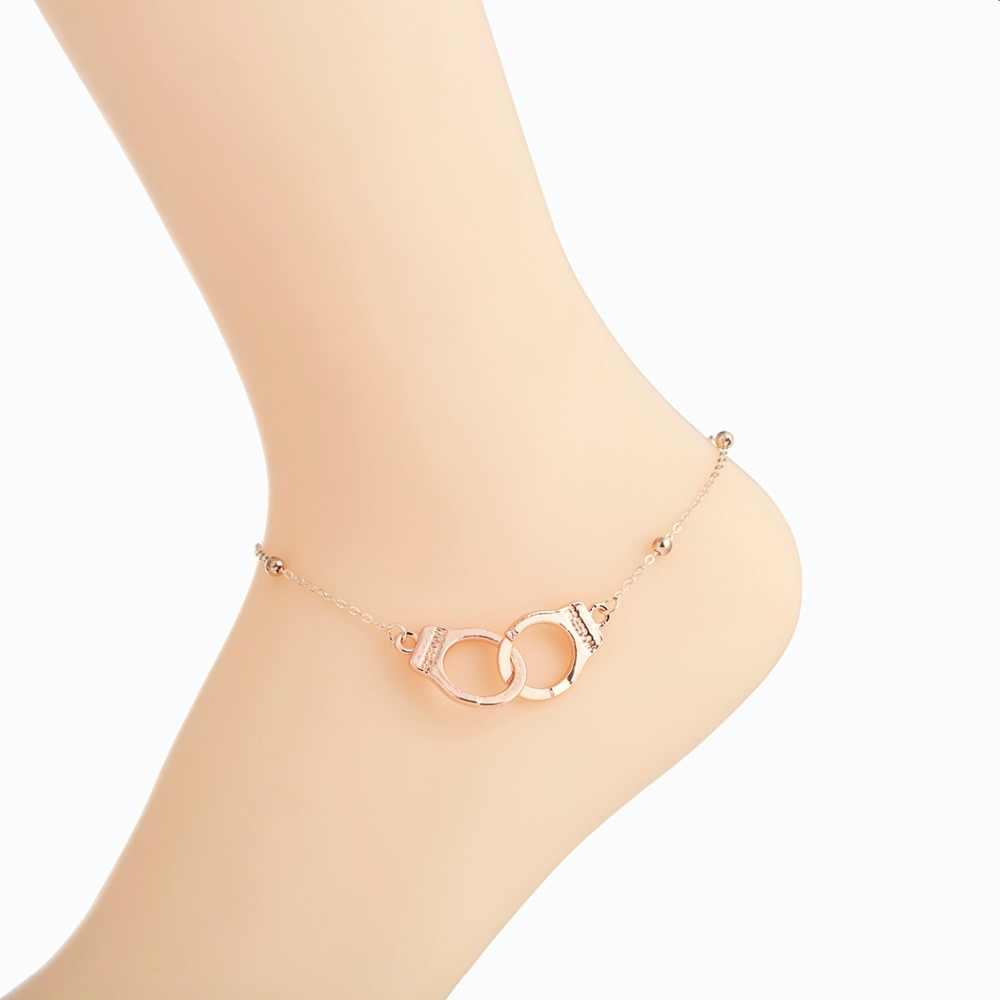 Новинка, браслет на ногу, ювелирное изделие, ножной браслет для женщин, девушек, сексуальная цепочка на лодыжку, очаровательные наручники, бусины, браслет, модное пляжное ювелирное изделие