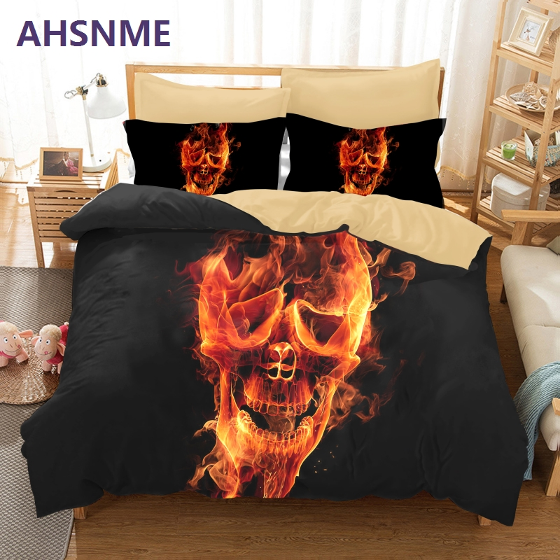 AHSNME Terror Cool Flame Skull Skeleton Duvet Cover Set Customized Europe United States Australia Multi-Size Double Queen KAHSNME Terror Cool Flame Skull Skeleton Duvet Cover Set Customized Europe United States Australia Multi-Size Double Queen K