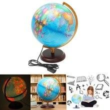 40 см светодиодный Глобус земли карта мира с подставкой география обучающая игрушка домашний офис Настольный орнамент Санта день рождения подарок для детей