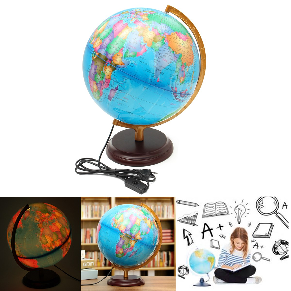 40cm LED Earth Globe World Map With Stand Geography Educational Toy Home Office Desktop Ornament Santa Birthday Kids Gift new led world map world globe rotating swivel map of earth geography globe figurines ornaments birthday gift home office decor