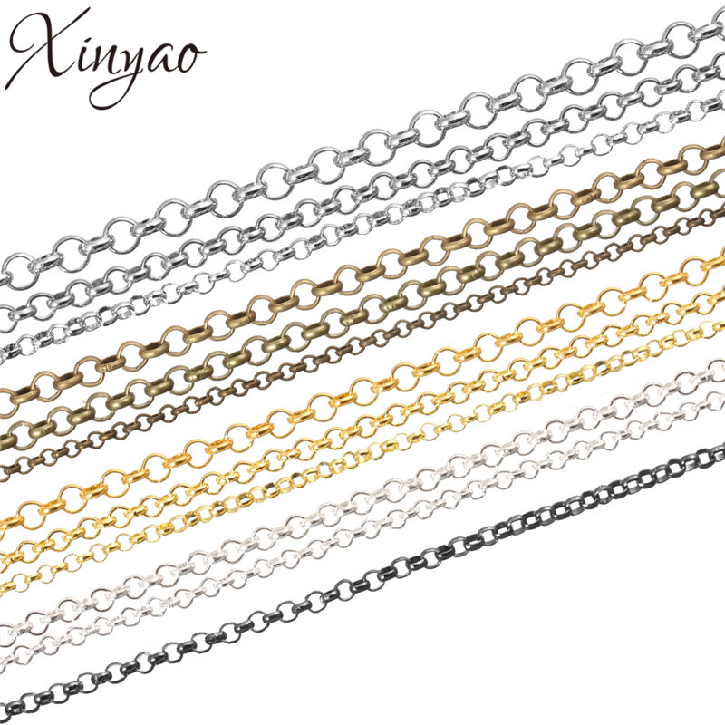 XINYAO 10m/lot Dia 2 3 3.8 Mm Metal Necklace Chains Bulk Antique Bronze/Gold/Silver Color Rolo Chains For Jewelry Making F779