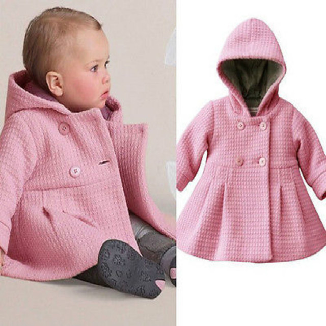 Pink Purple Girls Winter Warm Hooded Coat 2016 New Baby Toddler Girls Fall Winter Horn Button Hooded Pea Coat Outerwear Jacket