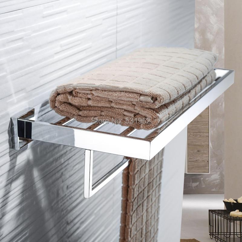 24 Inch Bathroom Double Towel Rail Rack Bar Shelf Wall Mounted Stainless Steel Polished Towel Storage