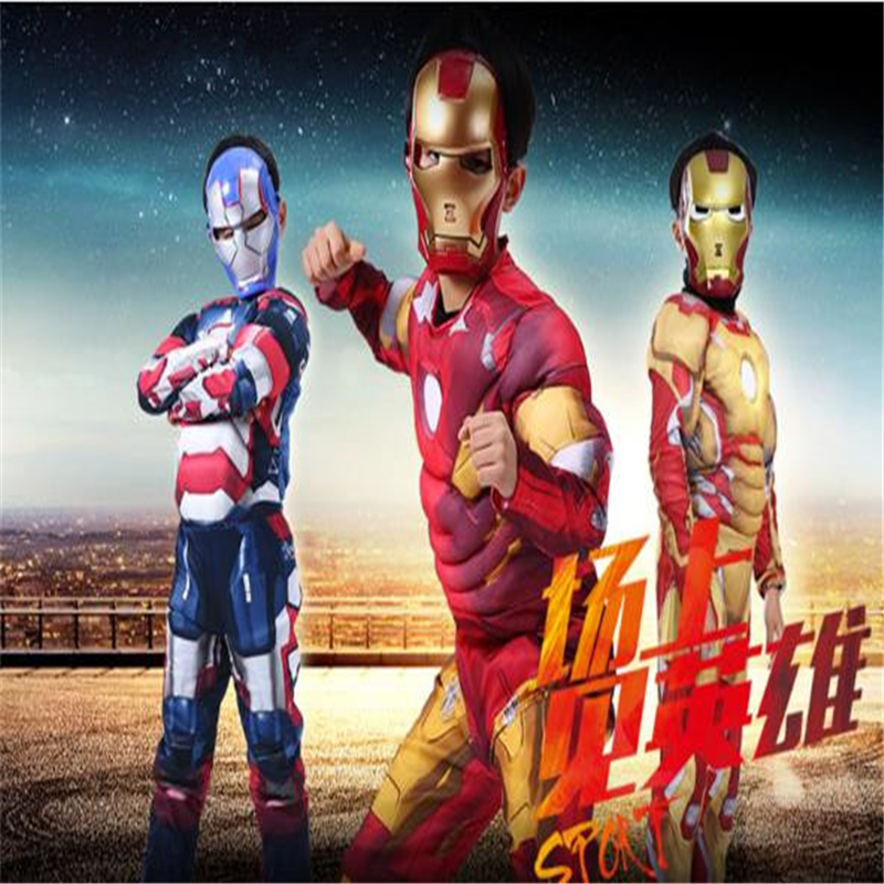 Halloween Iron Man Clothes Children Set Cosplay Costume Muscle Style Avengers Clothes