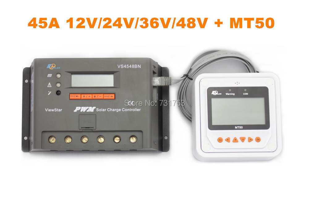 MAYLAR@ 45A 12V 24V 36V 48V Auto PWM Solar Charge Controller LCD Display With MT50 Meter Connect Solar Panels  vs4548bn 45a 24 48v auto pwm controller network access computer control can connect with mt50 for communication