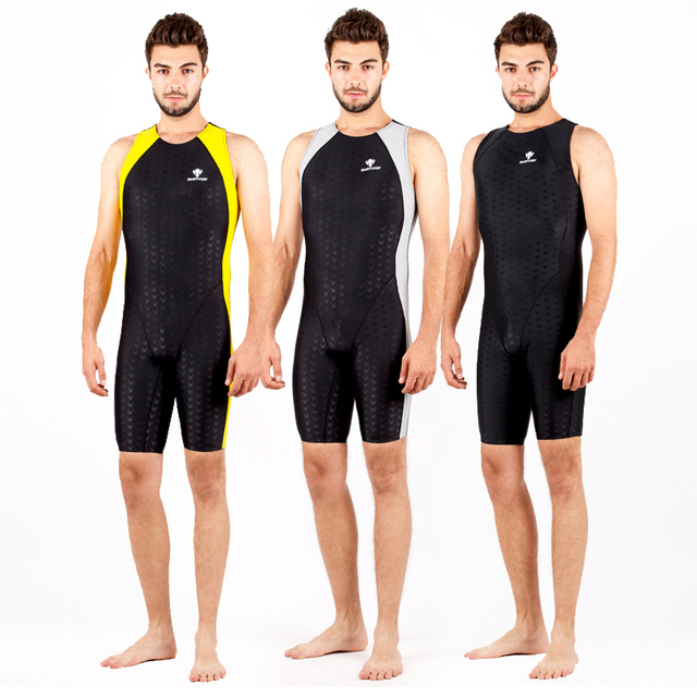35dfd53f07d Mens One Piece Swimwear Men Swimsuit Competition Boys Swimming Suit  Swimsuits Knee Swim Suits Racing Badpak Black