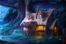 Trine 2 night home house lights stream tree forest game fantasy 467FJ living room home wall art decor wood frame poster