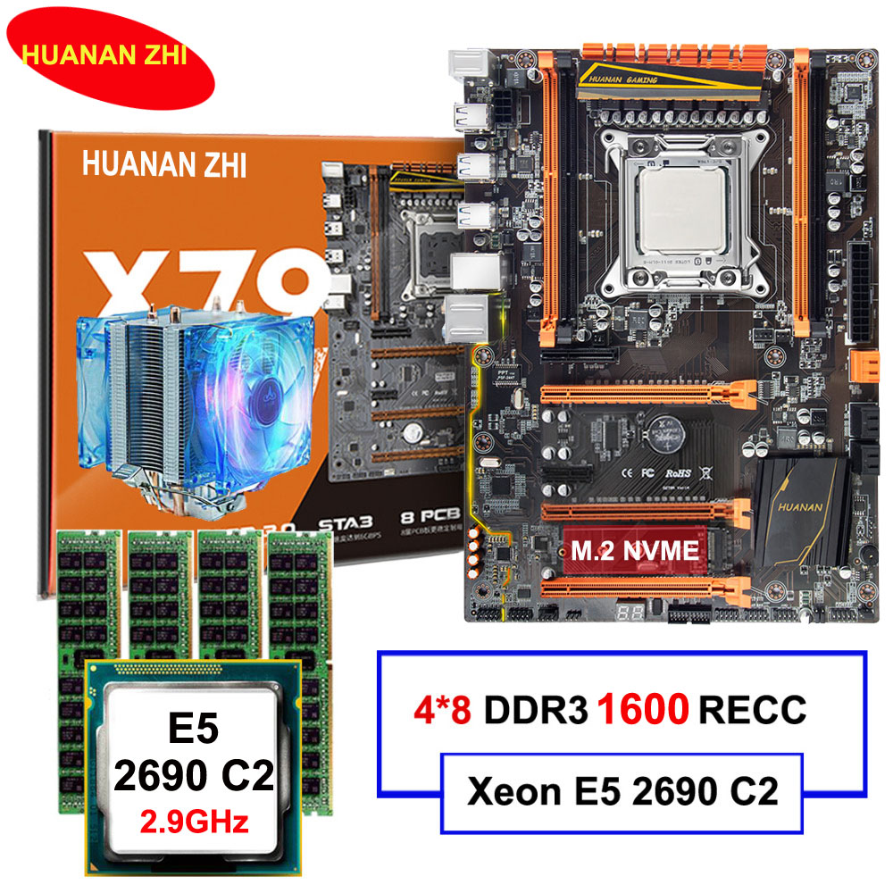Brand HUANAN ZHI deluxe X79 LGA2011 motherboard with M.2 NVMe slot CPU Xeon E5 2690 C2 2.9GHz with cooler RAM 32G(4*8G) REG ECC