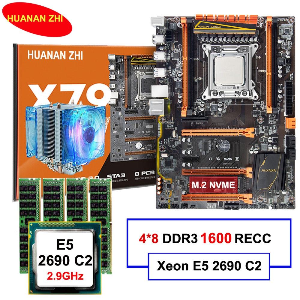Marca HUANAN ZHI deluxe X79 LGA2011 scheda madre con M.2 NVMe slot CPU Xeon E5 2690 C2 2.9 ghz con dispositivo di raffreddamento RAM 32g (4*8g) REG ecc