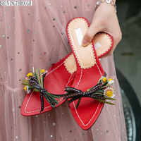 Real leather outside high heels flowers slippers woman open toe woman sandals three colors ladies shoes Summer shoes woman