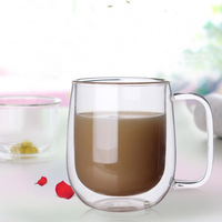 Double Layer Handmade Glass Cups Simple Morning Mugs With Handle Coffee Milk Juice Cup 300ml SH117