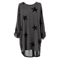 Heyouthoney 6 Color Women Autumn Five Pointed Star Print Dress Sexy Mini Dresses Elegant Loose Club