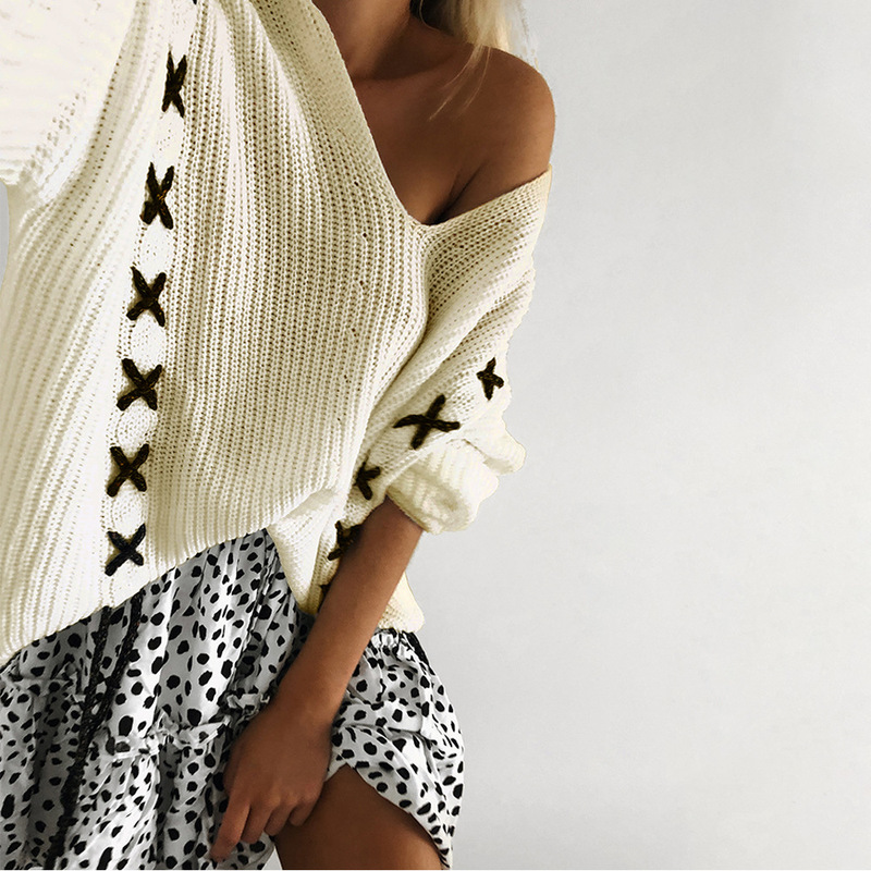 Women Lace Up V Neck Sweaters Autumn Winter Pullovers Woman Tops Casual Hollow Out Knitted Jumpers in Pullovers from Women 39 s Clothing
