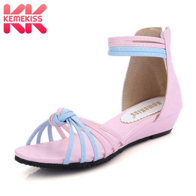 KemeKiss Women Flats Sandals Ankle-Strap Shoes Women Summer Sandals Sandals Femme Mixed Color Shoses Woman Size 31-43 PA00728