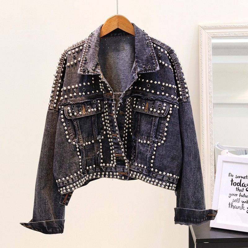 Women Punk Style   Jackets   Vintage Rivet Denim   Basic     Jacket   Short Loose Jeans   Jacket   Autumn Chaqueta Mujer Harajuku Streetwear