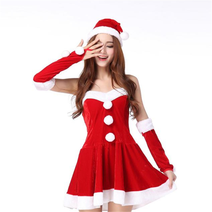 e406c63cfa34 1PC Hands LOOPS; Fashion Women Winter Ladies Sexy Santa Costume Women Mrs  Christmas Party Fancy Two Parts Dress Cosplay ...